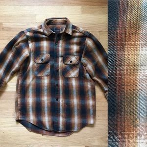 Other - Brown/orange plaid flannel shirt size S/M